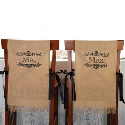 "Lillian Rose™ ""Mr."" and ""Mrs."" Burlap Chair Covers"