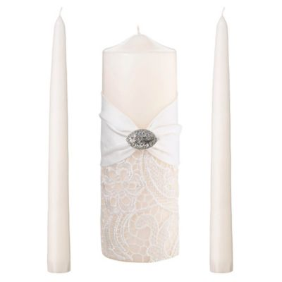 Lillian Rose™ 3-Piece Lace Candle Set in Cream