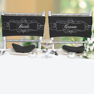 "Lillian Rose™ ""Bride"" and ""Groom"" Chair Sashes"