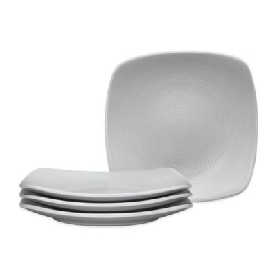 Noritake® Swirl Grey on Grey Square Appetizer Plates (Set of 4)