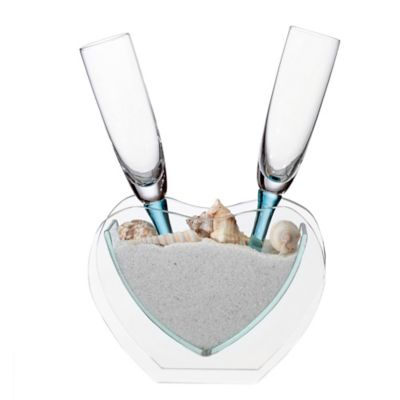 Lillian Rose™ Coastal Sand Toasting Flutes and Heart Vase