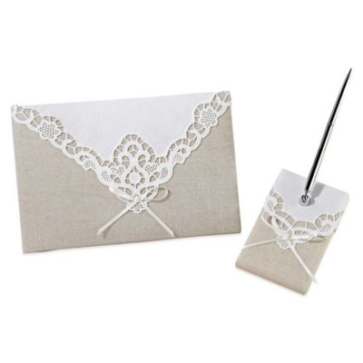 Lillian Rose™ Country Lace Guestbook and Pen Set