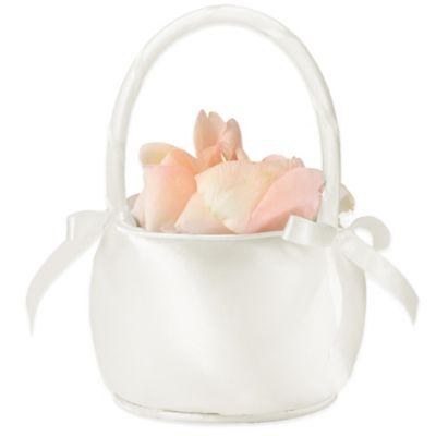 Satin Flower Basket in Off White