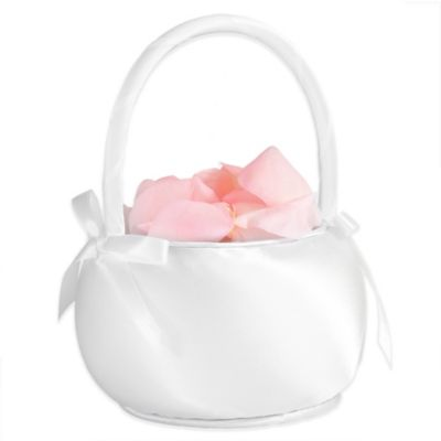 Lillian Rose™ Satin Flower Basket in White