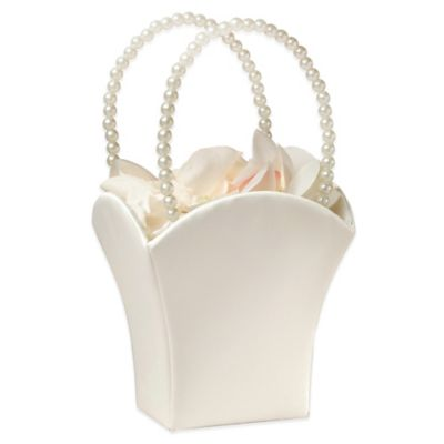 Satin Flower Basket in Ivory