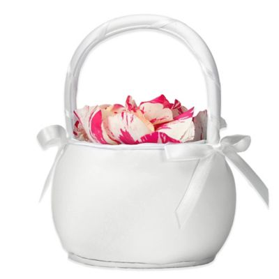 Lillian Rose™ Plain Satin Round Basket in White