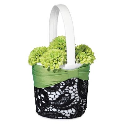 White Black Flower Basket