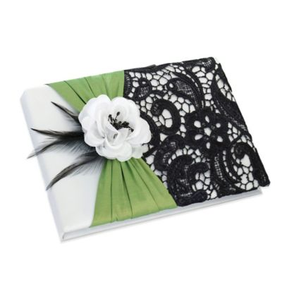 Lillian Rose Green & Black Wedding Guest Book