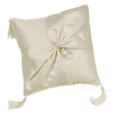 Lillian Rose™ Ivory Satin Sash Rhinestone Ring Pillow