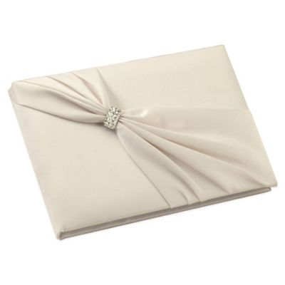 Lillian Rose™ Ivory Satin Sash Rhinestone Guest Book