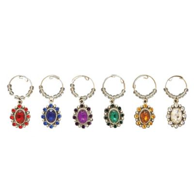 All For Giving Vintage Flower Wine Glass Charms (Set of 6)