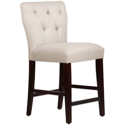 Skyline Furniture Violeta Tufted Hourglass Counter Stool in Linen Talc