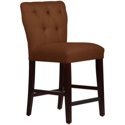 Skyline Furniture Violeta Tufted Hourglass Counter Stool in Linen Chocolate