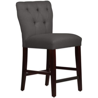 Skyline Furniture Violeta Tufted Hourglass Counter Stool in Linen Cindersmoke