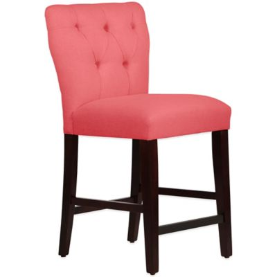 Skyline Furniture Violeta Tufted Hourglass Counter Stool in Linen Coral