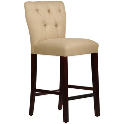 Skyline Furniture Violeta Tufted Hourglass Barstool in Linen Sandstone