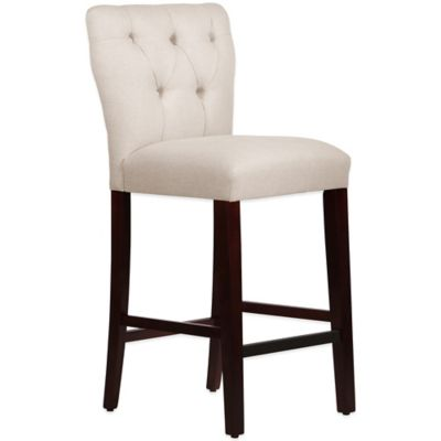 Skyline Furniture Violeta Tufted Hourglass Barstool in Linen Talc