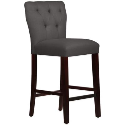Skyline Furniture Violeta Tufted Hourglass Barstool in Linen Cindersmoke