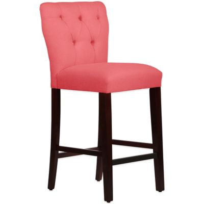 Skyline Furniture Violeta Tufted Hourglass Barstool in Linen Coral