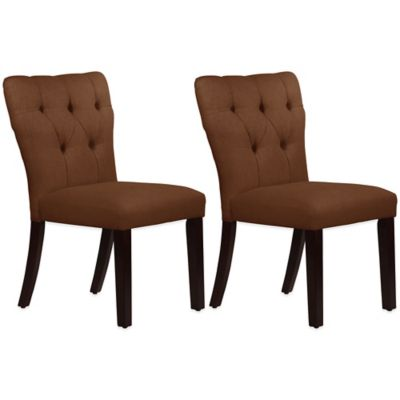 Skyline Furniture Violeta Tufted Hourglass Dining Chairs in Linen Chocolate (Set of 2)