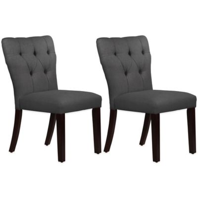 Skyline Furniture Violeta Tufted Hourglass Dining Chairs in Linen Cindersmoke (Set of 2)
