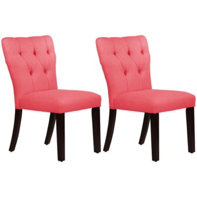 Skyline Furniture Violeta Tufted Hourglass Dining Chairs in Linen Coral (Set of 2)