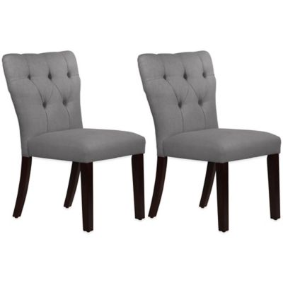 Skyline Furniture Violeta Tufted Hourglass Dining Chairs in Linen Grey (Set of 2)