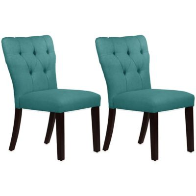 Skyline Furniture Violeta Tufted Hourglass Dining Chairs in Linen Laguna (Set of 2)