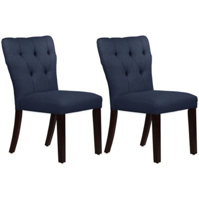 Skyline Furniture Violeta Tufted Hourglass Dining Chairs in Linen Navy (Set of 2)