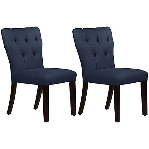 Buy Skyline Furniture Violeta Tufted Hourglass Dining Chairs In Linen Navy S