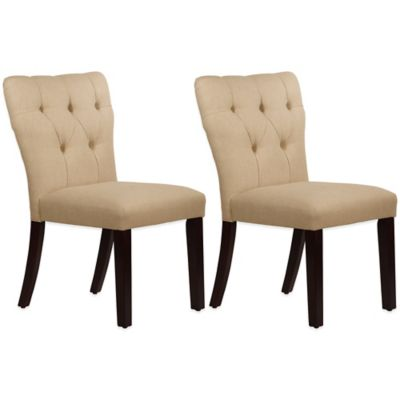 Skyline Furniture Violeta Tufted Hourglass Dining Chairs in Linen Sandstone (Set of 2)