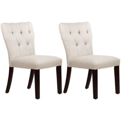 Skyline Furniture Violeta Tufted Hourglass Dining Chairs in Linen Talc (Set of 2)