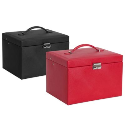 Mele & Co. Raleigh Faux Leather Locking Jewelry Box in Red
