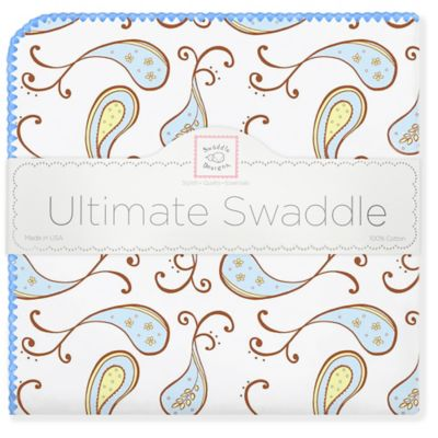 SwaddleDesigns® Triplets Paisley Ultimate Swaddle in Pastel Blue