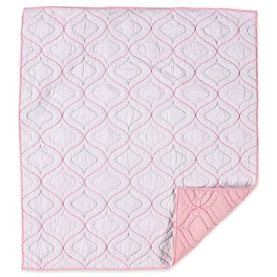 Living Textiles Baby Mix & Match Quilted Comforter in White/Pink