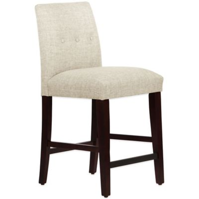 Skyline Furniture Ariana Tapered Counter Stool with Buttons in Zuma Vanilla