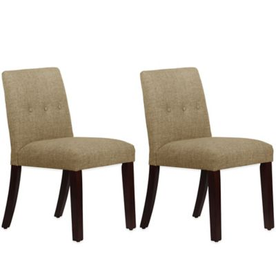 Skyline Furniture Ariana Tapered Dining Chairs with Buttons in Zuma Cobblestone (Set of 2)