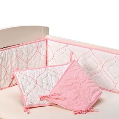 Baby Bedding > Living Textiles Baby Mix & Match Quilted Bumper in White/Pink