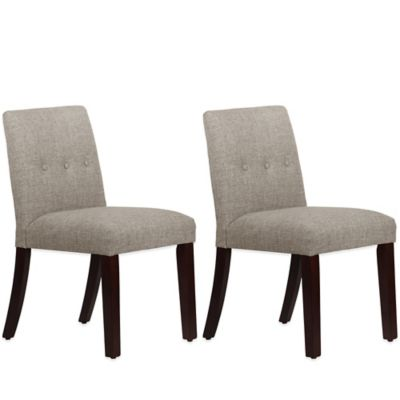 Skyline Furniture Ariana Tapered Dining Chairs with Buttons in Zuma Feather (Set of 2)