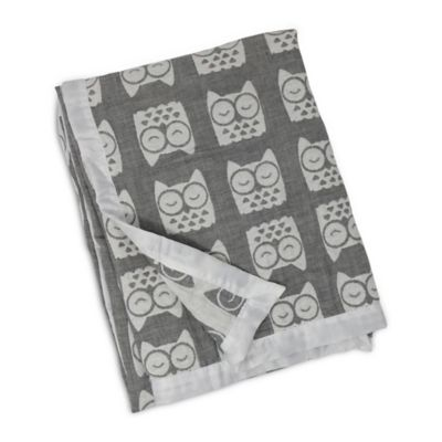 Living Textiles Baby Mix & Match Muslin Jacquard Blanket in Grey Owl