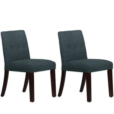 Skyline Furniture Ariana Tapered Dining Chairs with Buttons in Zuma Navy (Set of 2)