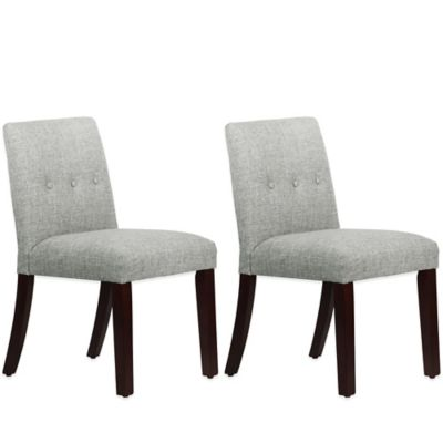 Skyline Furniture Ariana Tapered Dining Chairs with Buttons in Zuma Pumice (Set of 2)