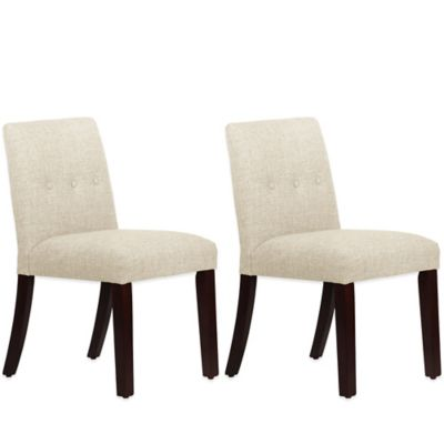 Skyline Furniture Ariana Tapered Dining Chairs with Buttons in Zuma Vanilla (Set of 2)