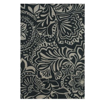 Feizy Floral 2-Foot 6-Inch x 8- Foot Indoor/Outdoor Runner in Grey/Black
