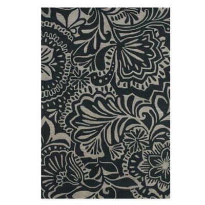 Feizy Floral 8-Foot x 11-Foot Indoor/Outdoor Rug in Grey/Black
