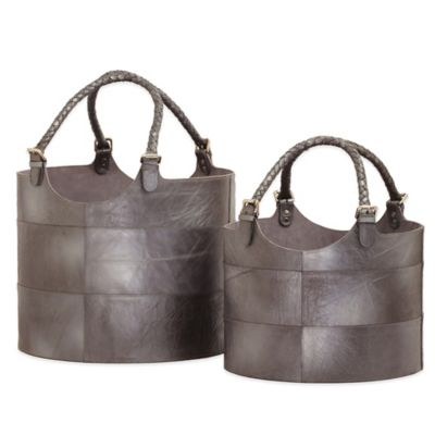 Dimond Home Nested Leather Buckets in Gunmetal (Set of 2)