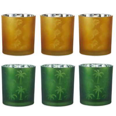 Pfaltzgraff® Green Palm Tree Tealight Holders (Set of 3)