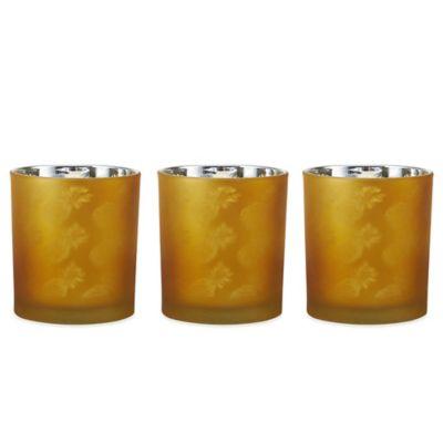 Pfaltzgraff® Amber Pineapple Tealight Holders (Set of 3)
