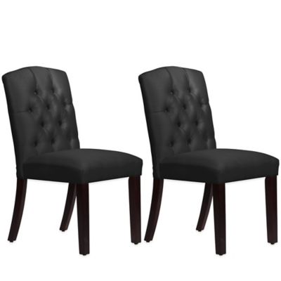 Skyline Furniture Denise Tufted Arched Dining Chairs in Shantung Black (Set of 2)