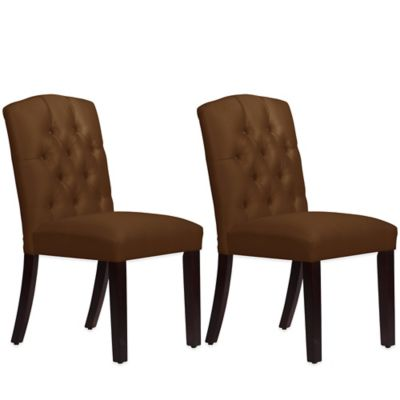 Skyline Furniture Denise Tufted Arched Dining Chairs in Shantung Chocolate (Set of 2)